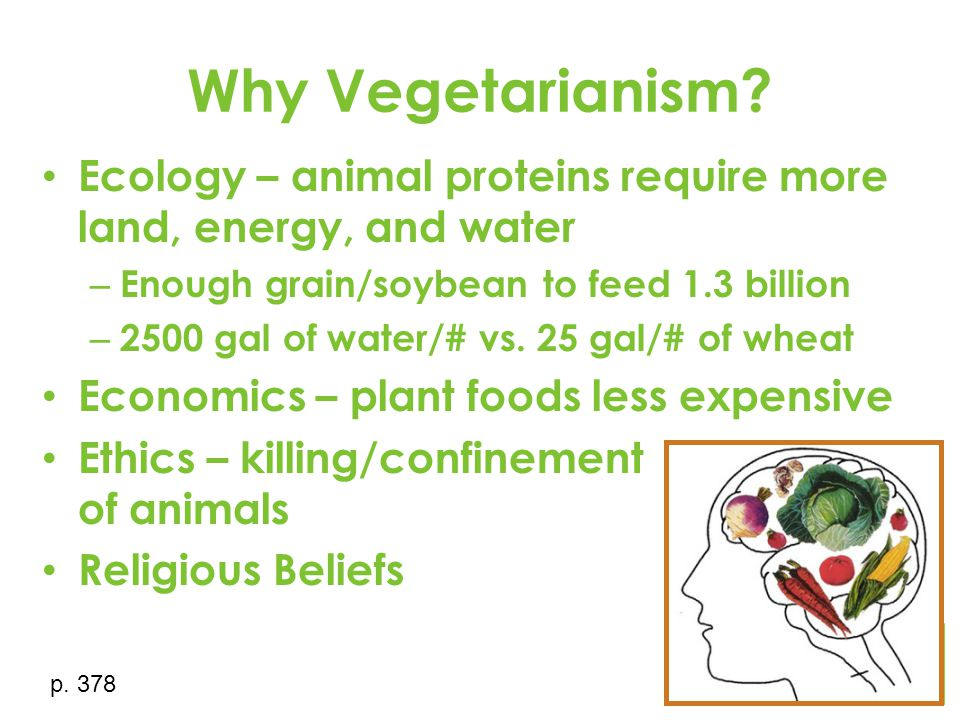 Why Vegetarianism? Ecology – animal proteins require more land, energy, and water – Enough grain/soybean to feed 1.3 billion – 2500 gal of water/# vs.