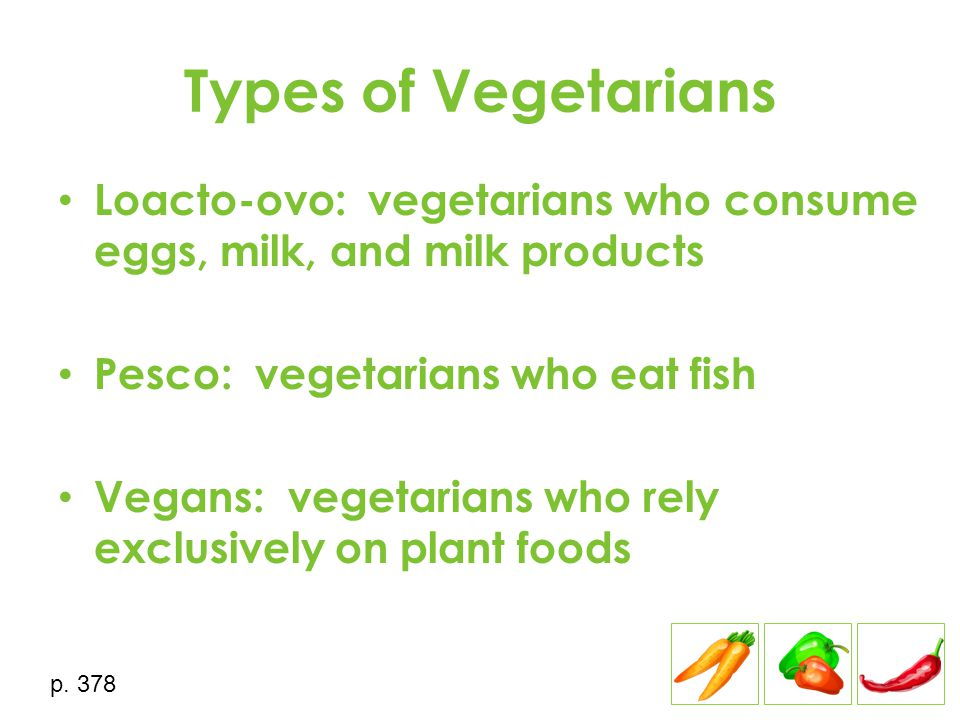 Types of Vegetarians Loacto-ovo: vegetarians who consume eggs, milk, and milk products Pesco: vegetarians who eat fish Vegans: vegetarians who rely ex