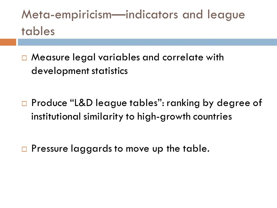 Meta-empiricismindicators and league tables Measure legal variables and correlate with development statistics Produce L&D league tables: ranking by de
