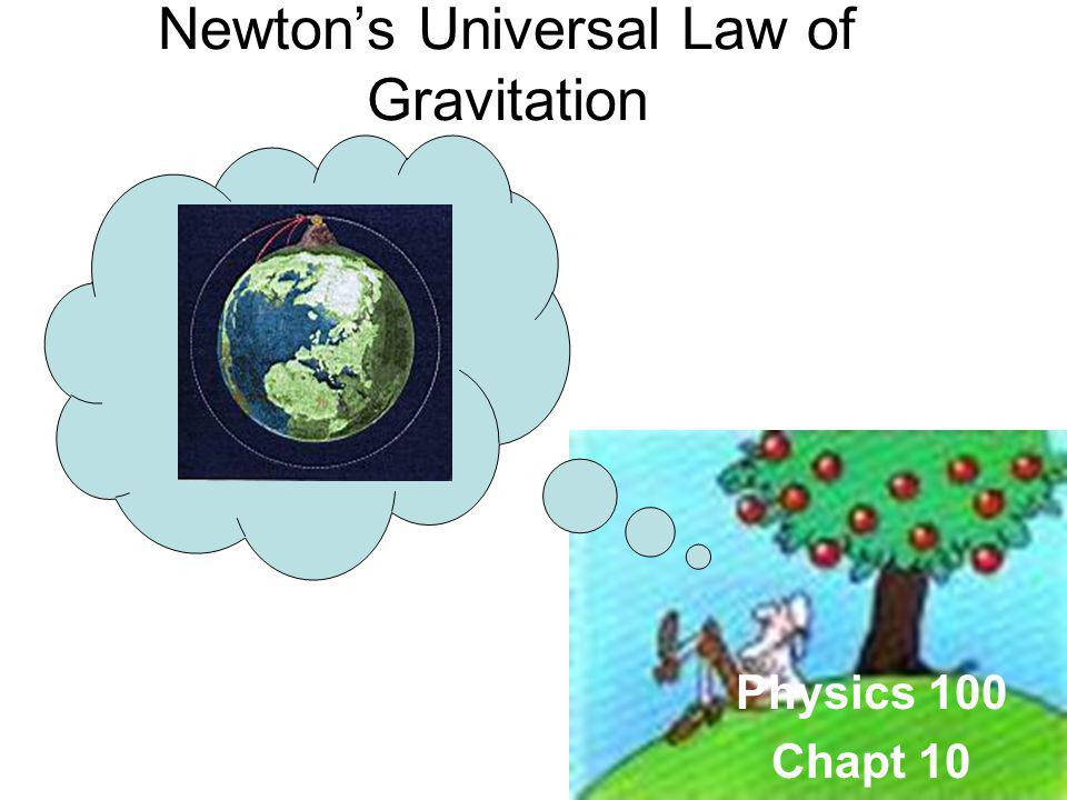 Physics 100 Chapt 10 Newtons Universal Law of Gravitation