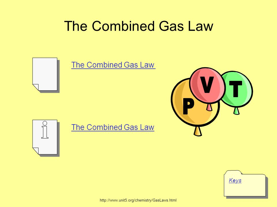 = kPV PTPT VTVT T Combined Gas Law P1V1T1P1V1T1 = P2V2T2P2V2T2 P 1 V 1 T 2 = P 2 V 2 T 1 Courtesy Christy Johannesson www.nisd.net/communicationsarts/pages/chem (BOYLES LAW)(CHARLES LAW)(Gay-Lussacs LAW)(COMBINED GAS LAW)