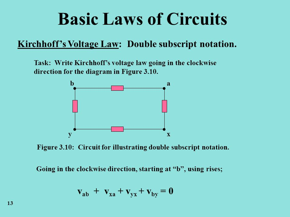 Basic Laws of Circuits Kirchhoffs Voltage Law: Double subscript notation. Task: Write Kirchhoffs voltage law going in the clockwise direction for the