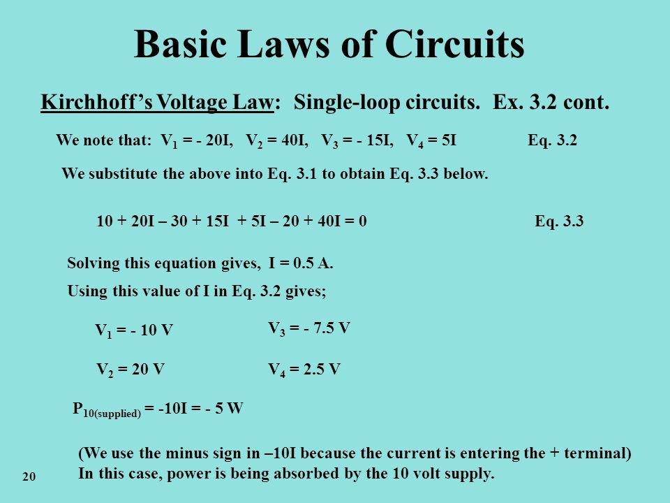 Basic Laws of Circuits Kirchhoffs Voltage Law: Single-loop circuits. Ex. 3.2 cont. We note that: V 1 = - 20I, V 2 = 40I, V 3 = - 15I, V 4 = 5I Eq. 3.2
