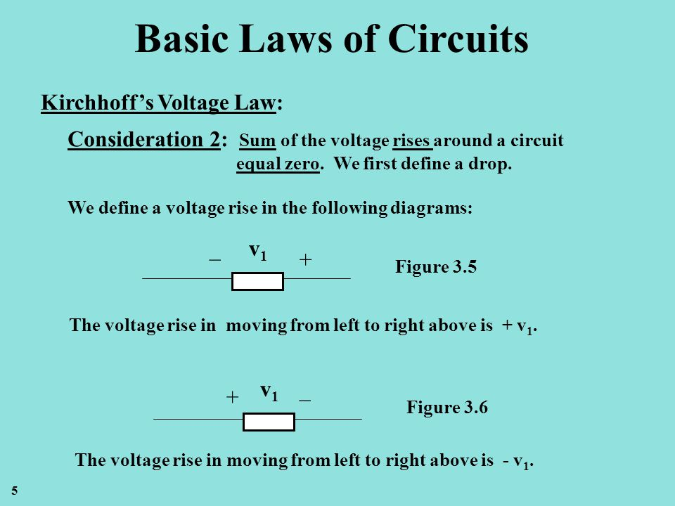 Basic Laws of Circuits Kirchhoffs Voltage Law: Consideration 2: Sum of the voltage rises around a circuit equal zero. We first define a drop. We defin