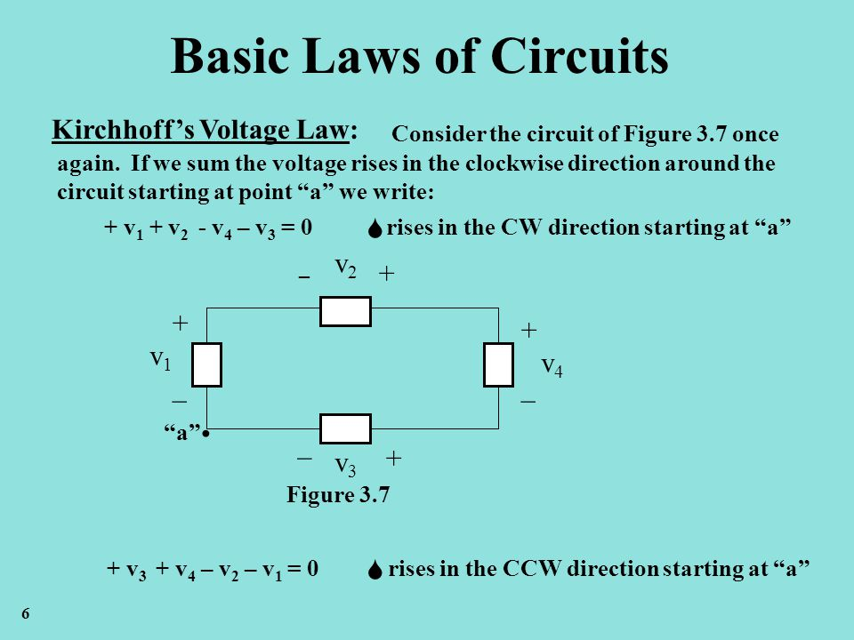 Basic Laws of Circuits Kirchhoffs Voltage Law: Consider the circuit of Figure 3.7 once again. If we sum the voltage rises in the clockwise direction a