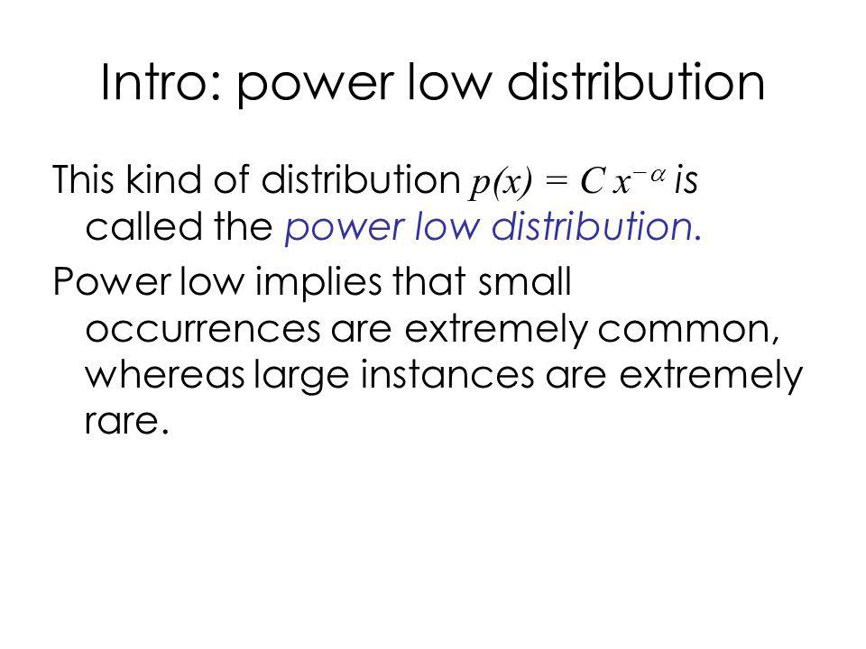 Intro: power low distribution This kind of distribution p(x) = C x is called the power low distribution.