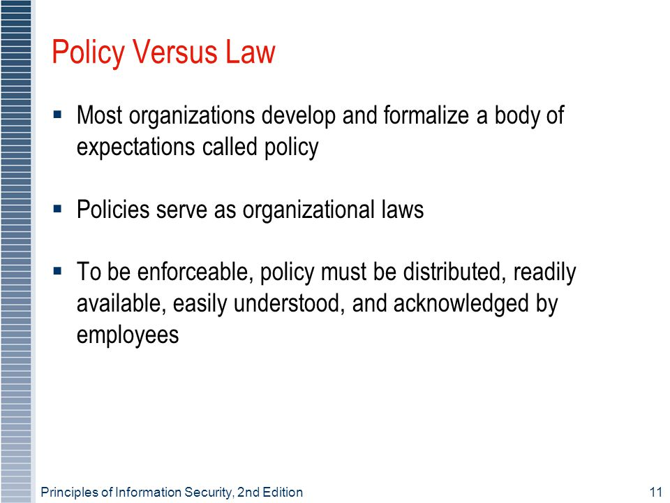 Principles of Information Security, 2nd Edition11 Policy Versus Law Most organizations develop and formalize a body of expectations called policy Poli