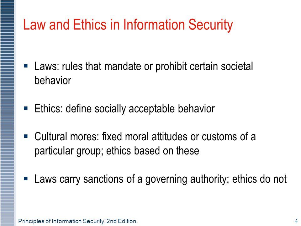 Principles of Information Security, 2nd Edition4 Law and Ethics in Information Security Laws: rules that mandate or prohibit certain societal behavior