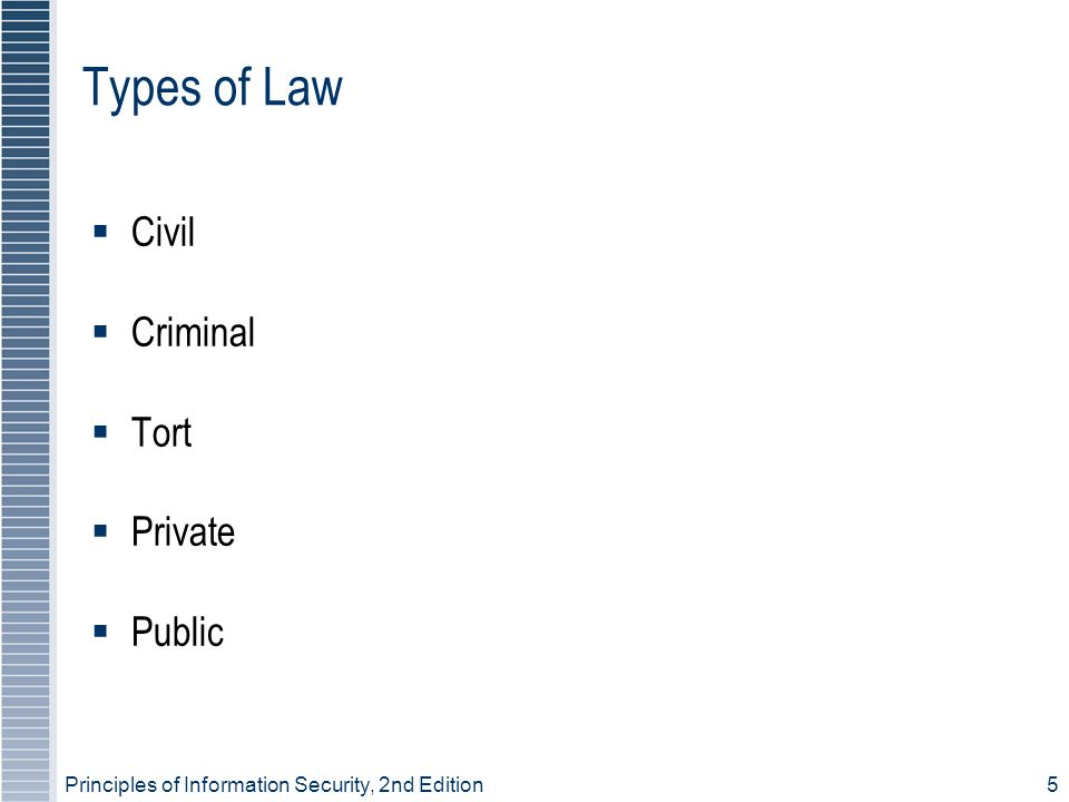 Principles of Information Security, 2nd Edition5 Types of Law Civil Criminal Tort Private Public