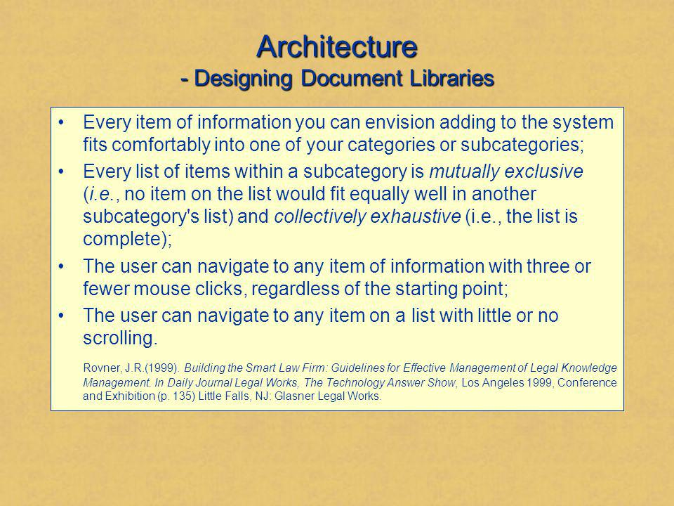 Architecture - Designing Document Libraries Every item of information you can envision adding to the system fits comfortably into one of your categori