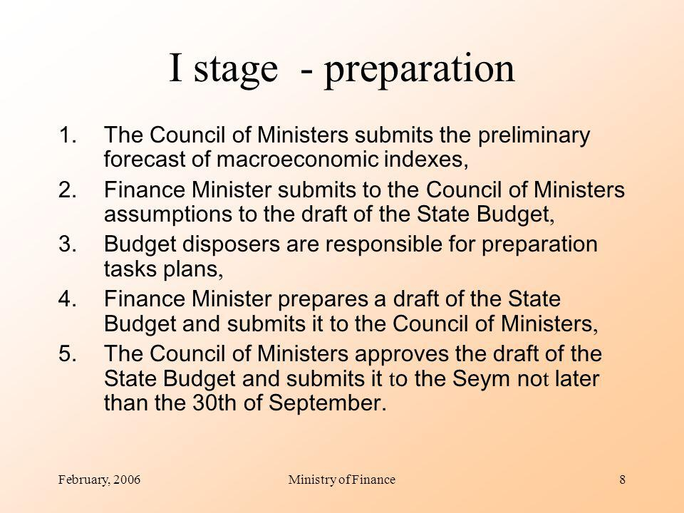 February, 2006Ministry of Finance8 I stage - preparation 1.The Council of Ministers submits the preliminary forecast of macroeconomic indexes, 2.Finance Minister submits to the Council of Ministers assumptions to the draft of the State Budget, 3.Budget disposers are responsible for preparation tasks plans, 4.Finance Minister prepares a draft of the State Budget and submits it to the Council of Ministers, 5.The Council of Ministers approves the draft of the State Budget and submits it t o the Seym no t later than the 30th of September.