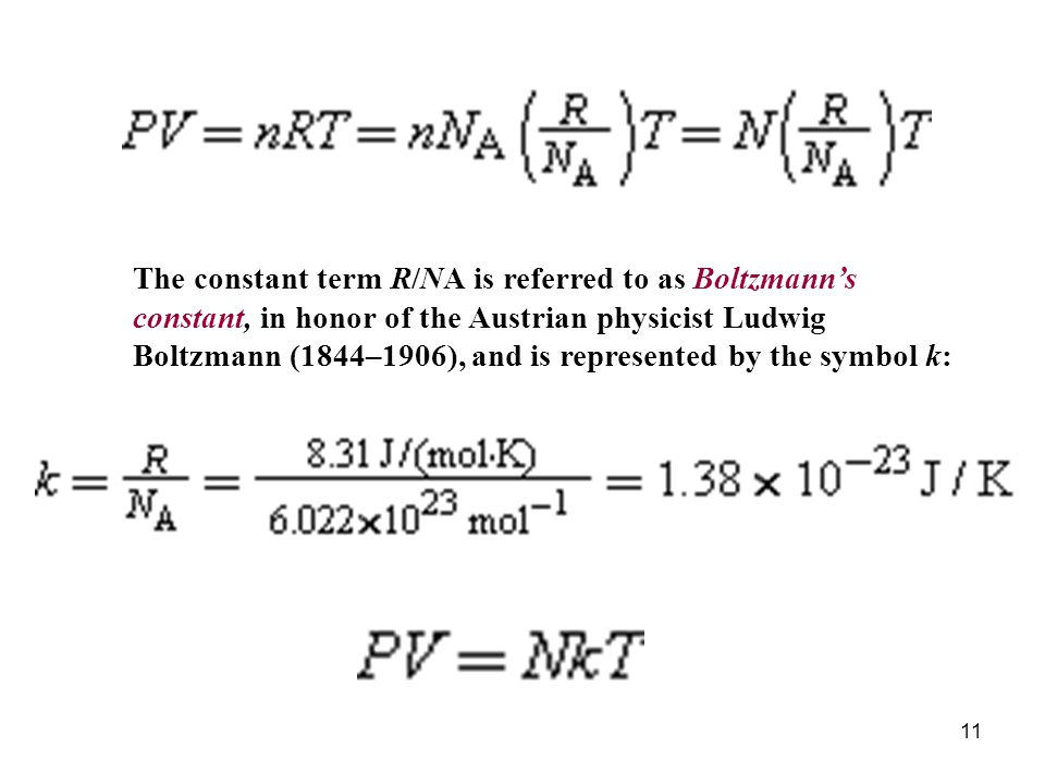 11 The constant term R/NA is referred to as Boltzmanns constant, in honor of the Austrian physicist Ludwig Boltzmann (1844–1906), and is represented by the symbol k: