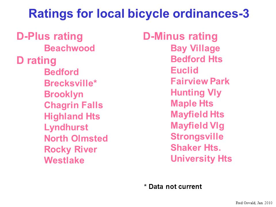 Ratings for local bicycle ordinances-3 D-Plus rating Beachwood D rating Bedford Brecksville* Brooklyn Chagrin Falls Highland Hts Lyndhurst North Olmsted Rocky River Westlake D-Minus rating Bay Village Bedford Hts Euclid Fairview Park Hunting Vly Maple Hts Mayfield Hts Mayfield Vlg Strongsville Shaker Hts.