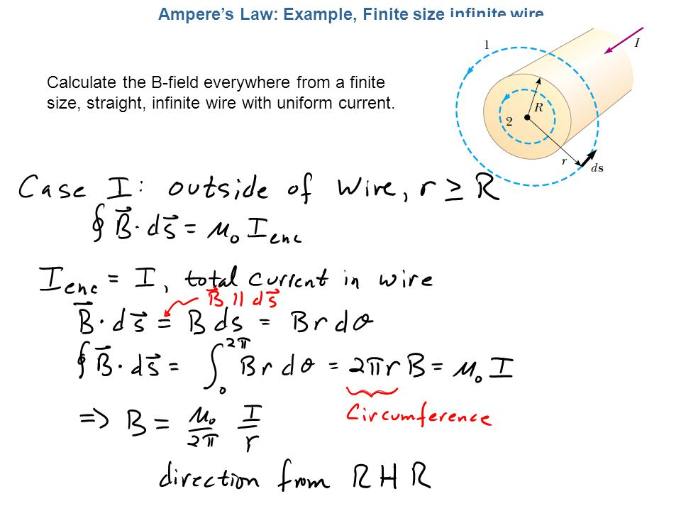 Amperes Law: Example, Finite size infinite wire Calculate the B-field everywhere from a finite size, straight, infinite wire with uniform current.