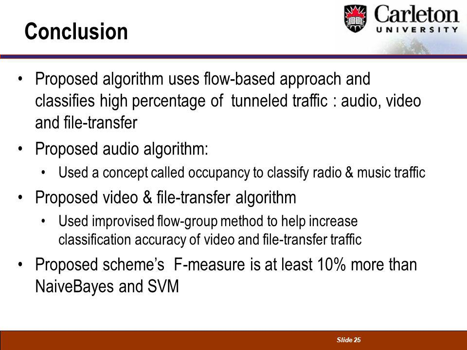 Slide 25 Conclusion Proposed algorithm uses flow-based approach and classifies high percentage of tunneled traffic : audio, video and file-transfer Pr