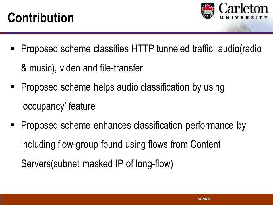 Slide 6 Contribution Proposed scheme classifies HTTP tunneled traffic: audio(radio & music), video and file-transfer Proposed scheme helps audio class
