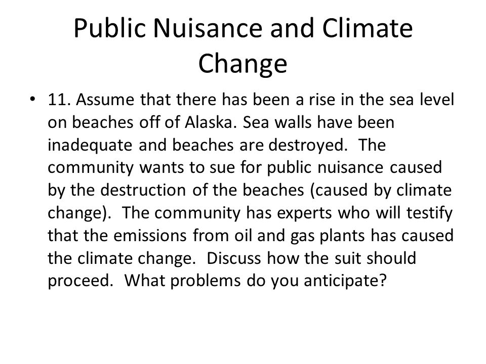 Public Nuisance and Climate Change 11.