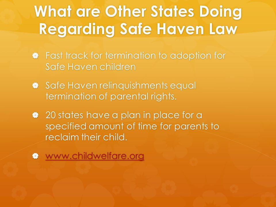 What are Other States Doing Regarding Safe Haven Law Fast track for termination to adoption for Safe Haven children Fast track for termination to adoption for Safe Haven children Safe Haven relinquishments equal termination of parental rights.