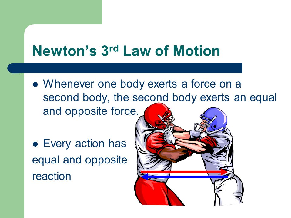 Newtons 3 rd Law of Motion Whenever one body exerts a force on a second body, the second body exerts an equal and opposite force.