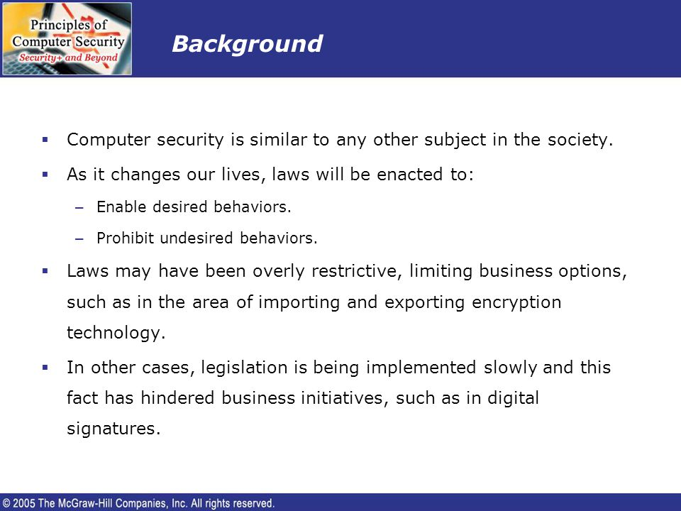 Objectives Upon completion of this lesson, the learner will be able to: – List laws and rules concerning importing and exporting encryption software.