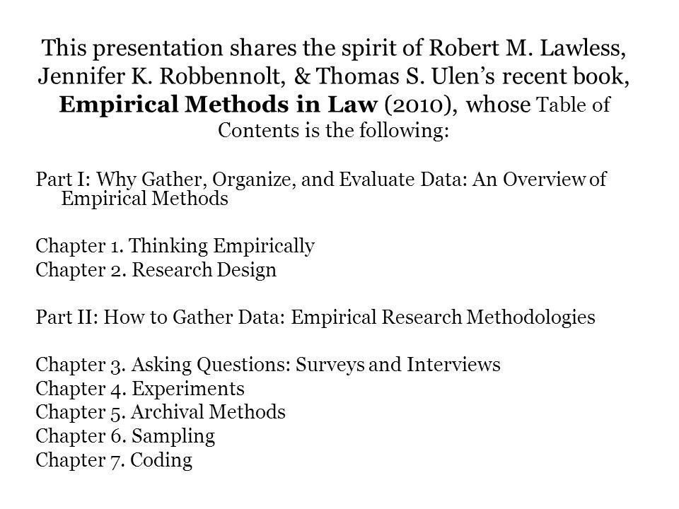 This presentation shares the spirit of Robert M.Lawless, Jennifer K.