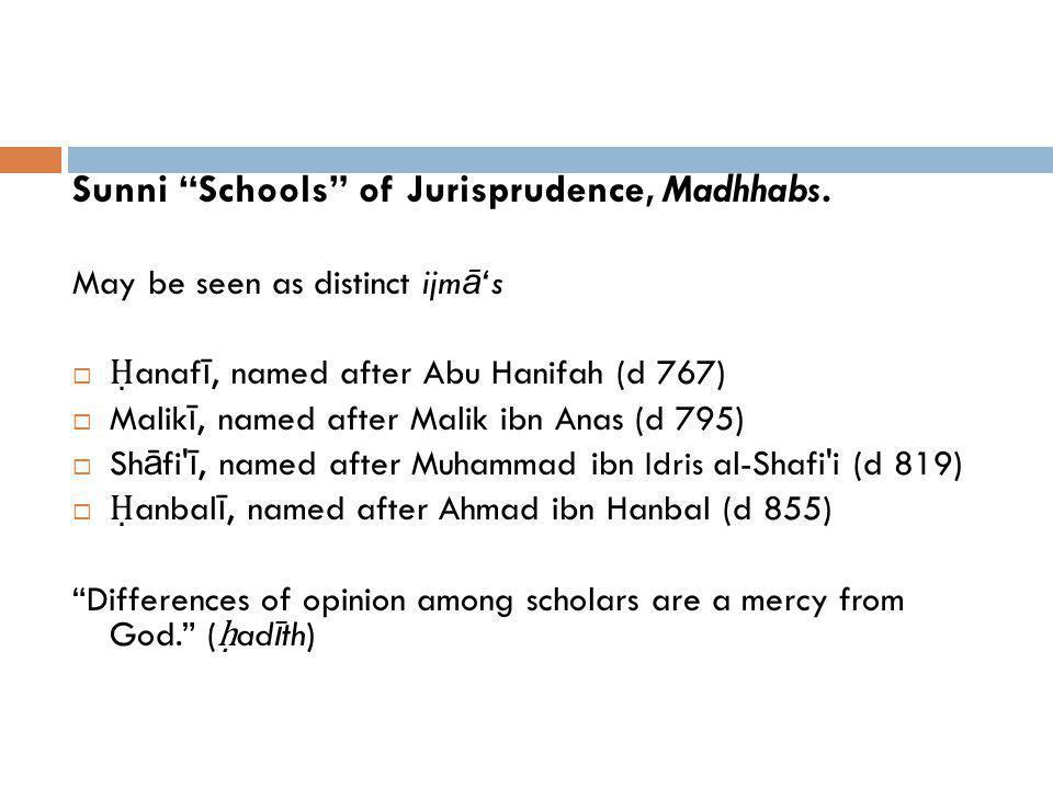 Sunni Schools of Jurisprudence, Madhhabs. May be seen as distinct ijm ā s anaf ī, named after Abu Hanifah (d 767) Malik ī, named after Malik ibn Anas
