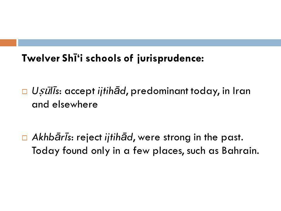 Twelver Sh ī i schools of jurisprudence: U ū l ī s: accept ijtih ā d, predominant today, in Iran and elsewhere Akhb ā r ī s: reject ijtih ā d, were st