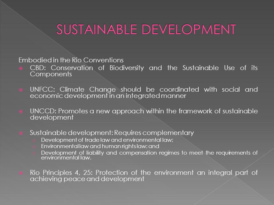 Fundamental underpinning of sustainable development development that meets the needs of the present without compromising the ability of future generations to meet their own needs UNFCC, Article 3.(i) refers to inter-generational equity CBC, Preamble UNCCD Stockholm Convention on Persistent Organic Pollutants
