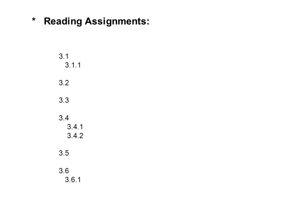 * Reading Assignments: 3.1 3.1.1 3.2 3.3 3.4 3.4.1 3.4.2 3.5 3.6 3.6.1