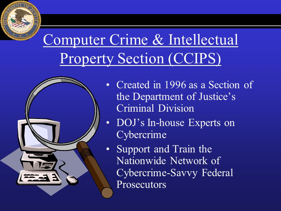 Computer Crime & Intellectual Property Section (CCIPS) Created in 1996 as a Section of the Department of Justices Criminal Division DOJs In-house Expe