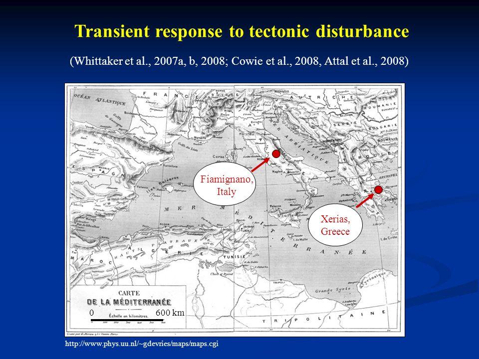 http://www.phys.uu.nl/~gdevries/maps/maps.cgi Fiamignano, Italy Xerias, Greece 0 600 km Transient response to tectonic disturbance (Whittaker et al., 2007a, b, 2008; Cowie et al., 2008, Attal et al., 2008)