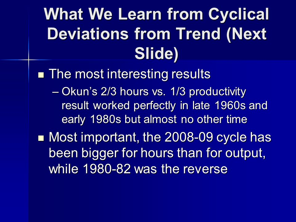What We Learn from Cyclical Deviations from Trend (Next Slide) The most interesting results The most interesting results –Okuns 2/3 hours vs.