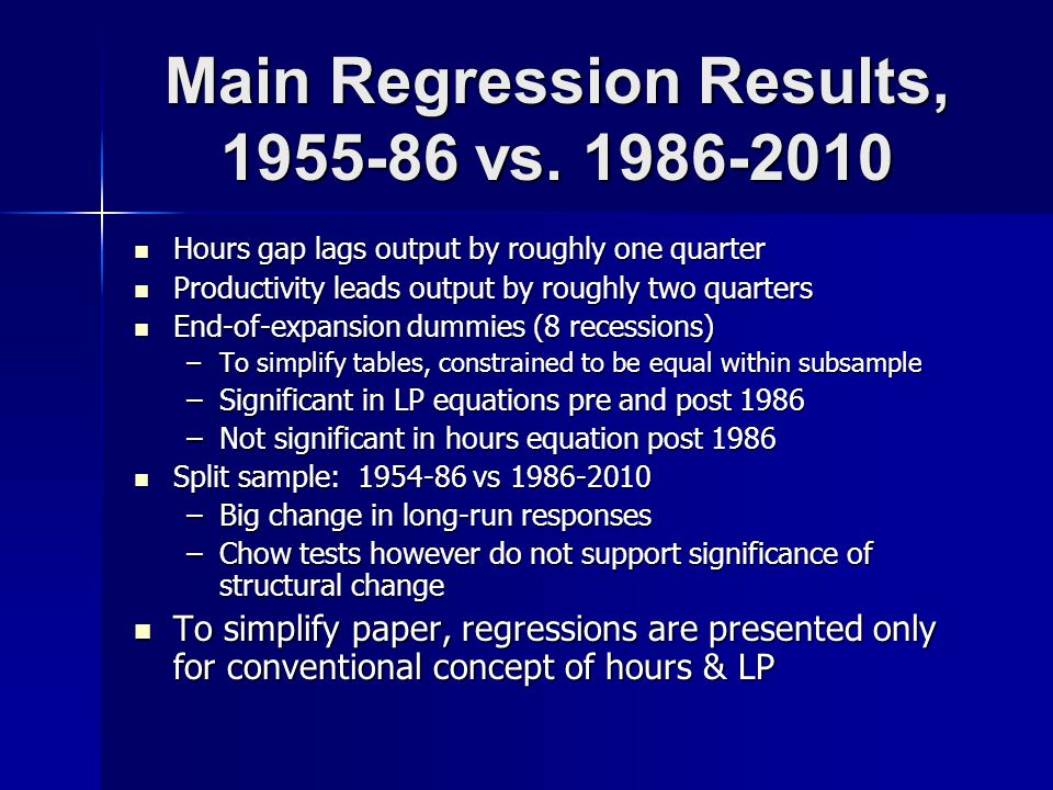 Main Regression Results, 1955-86 vs.