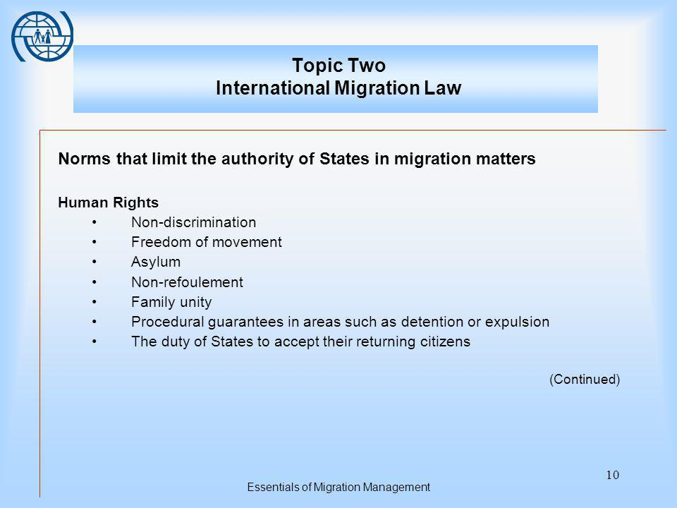 Essentials of Migration Management 10 Topic Two International Migration Law Norms that limit the authority of States in migration matters Human Rights Non-discrimination Freedom of movement Asylum Non-refoulement Family unity Procedural guarantees in areas such as detention or expulsion The duty of States to accept their returning citizens (Continued)