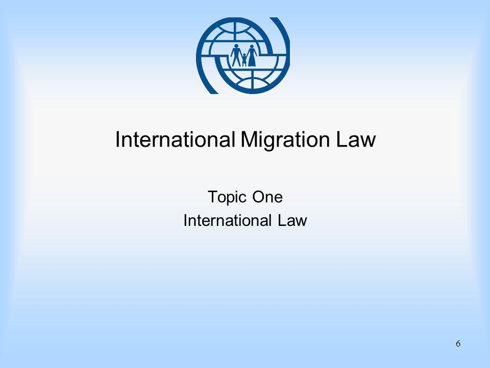 6 International Migration Law Topic One International Law