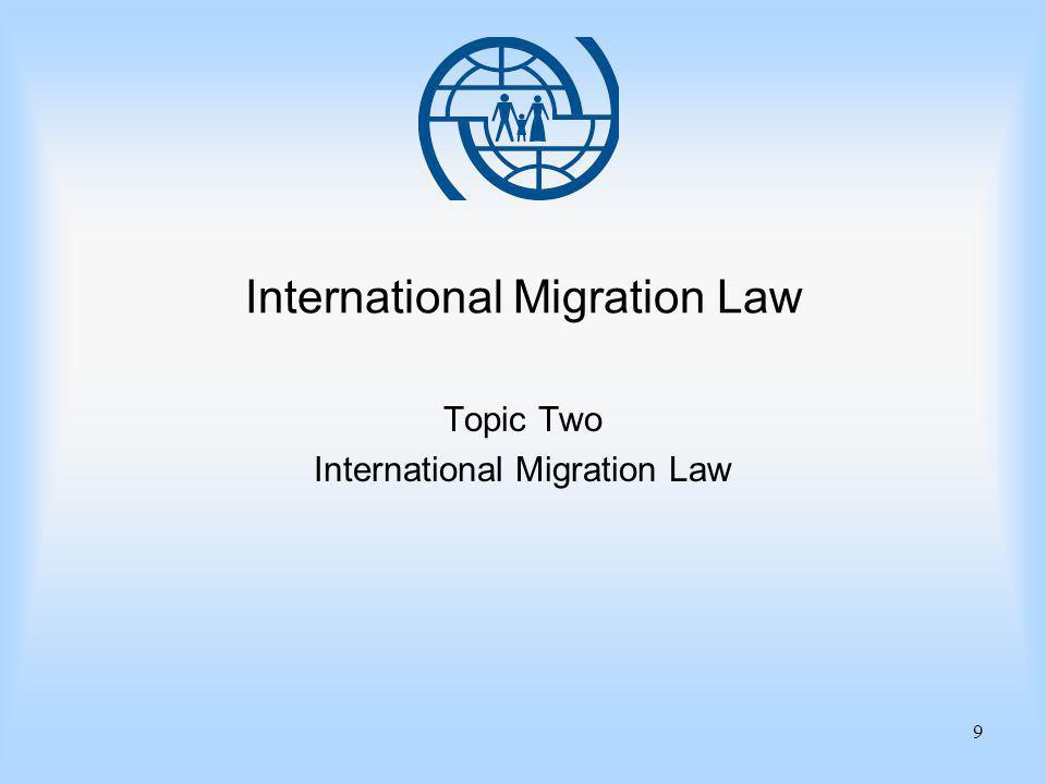 9 International Migration Law Topic Two International Migration Law
