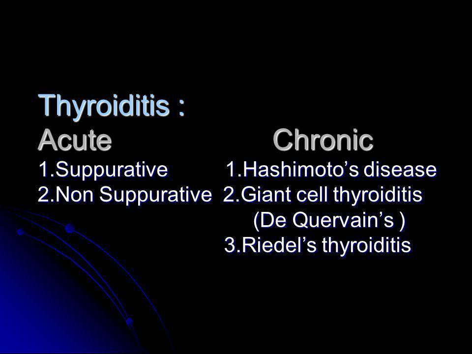 Thyroiditis : Acute Chronic 1.Suppurative 1.Hashimotos disease 2.Non Suppurative 2.Giant cell thyroiditis (De Quervains ) 3.Riedels thyroiditis