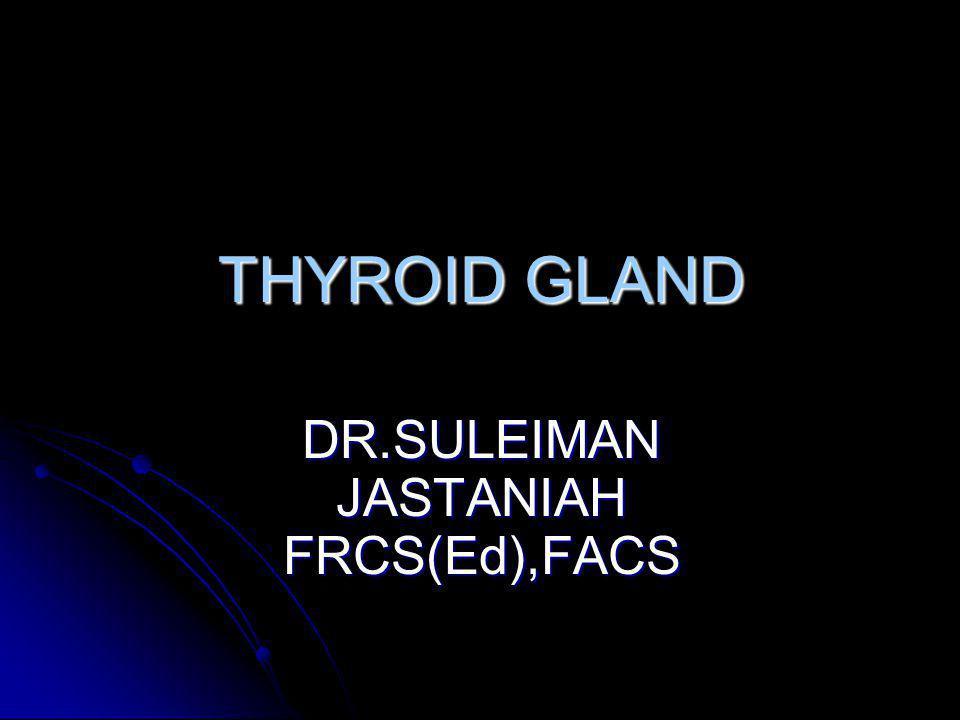 THYROID GLAND DR.SULEIMAN JASTANIAH FRCS(Ed),FACS