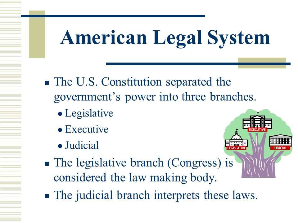 American Legal System The U.S. Constitution separated the governments power into three branches. Legislative Executive Judicial The legislative branch