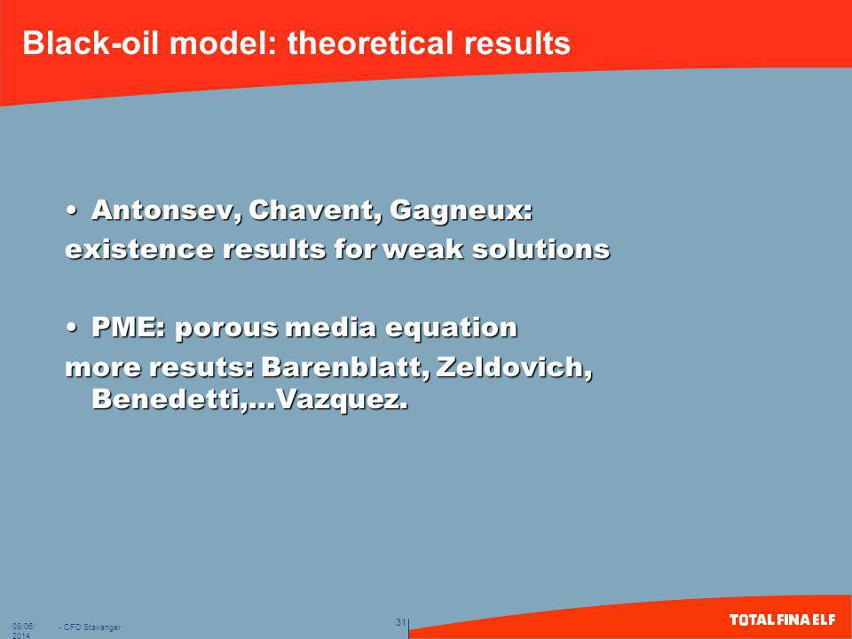 - CFD Stavanger 31 08/06/2014 Black-oil model: theoretical results Antonsev, Chavent, Gagneux:Antonsev, Chavent, Gagneux: existence results for weak s