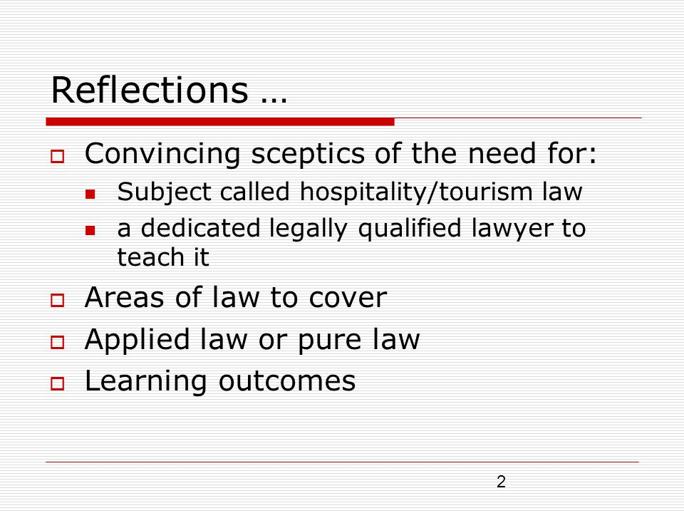 3 Reflections … Teaching and learning strategies (lecturing or self learning) Assessing learning – exams and continuous assessment Student attendance, class contact hours, what year to teach Learning resources - books, articles and web-based technologies The loneliness of the law teacher in a non- law world