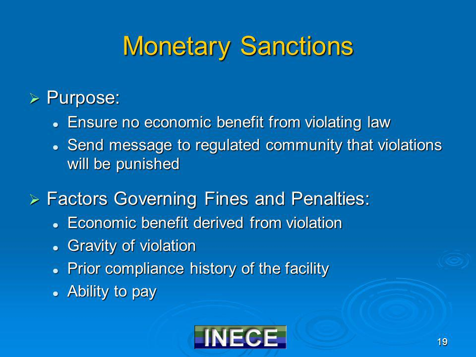 19 Monetary Sanctions Purpose: Purpose: Ensure no economic benefit from violating law Ensure no economic benefit from violating law Send message to regulated community that violations will be punished Send message to regulated community that violations will be punished Factors Governing Fines and Penalties: Factors Governing Fines and Penalties: Economic benefit derived from violation Economic benefit derived from violation Gravity of violation Gravity of violation Prior compliance history of the facility Prior compliance history of the facility Ability to pay Ability to pay