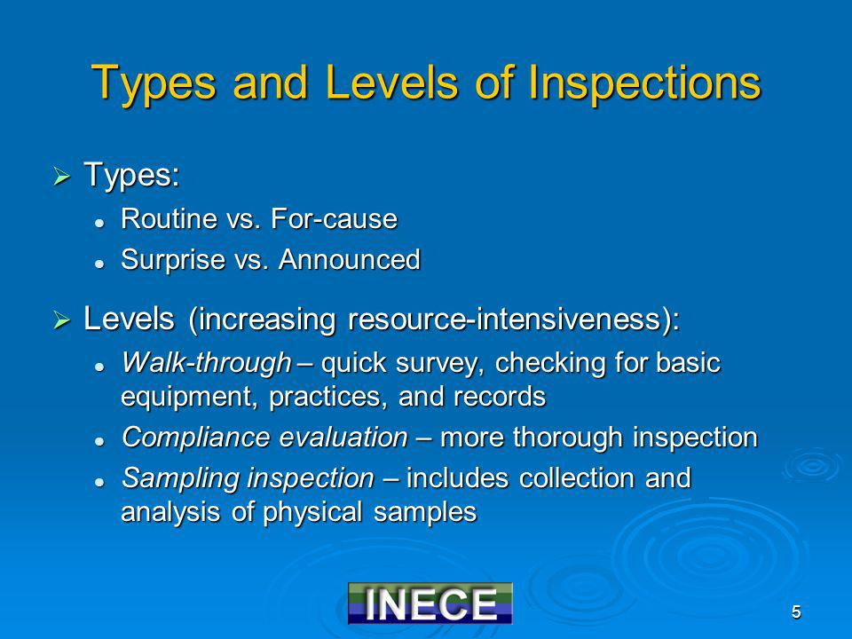 5 Types and Levels of Inspections Types: Types: Routine vs.
