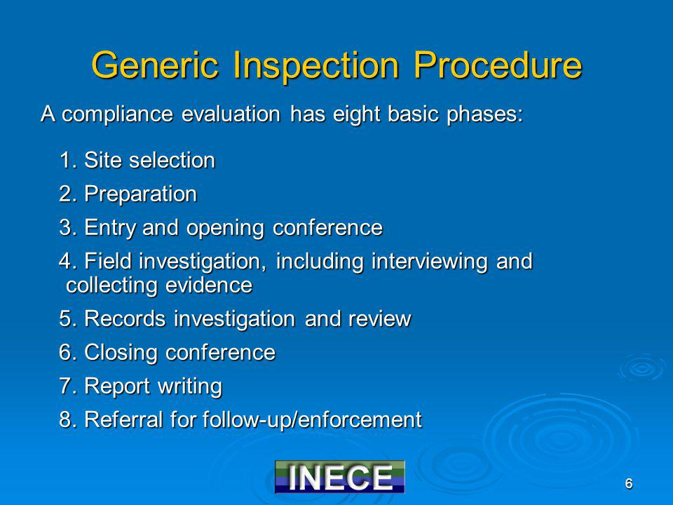 6 Generic Inspection Procedure A compliance evaluation has eight basic phases: 1.