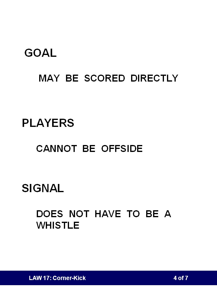 LAW 17: Corner-Kick3 of 7