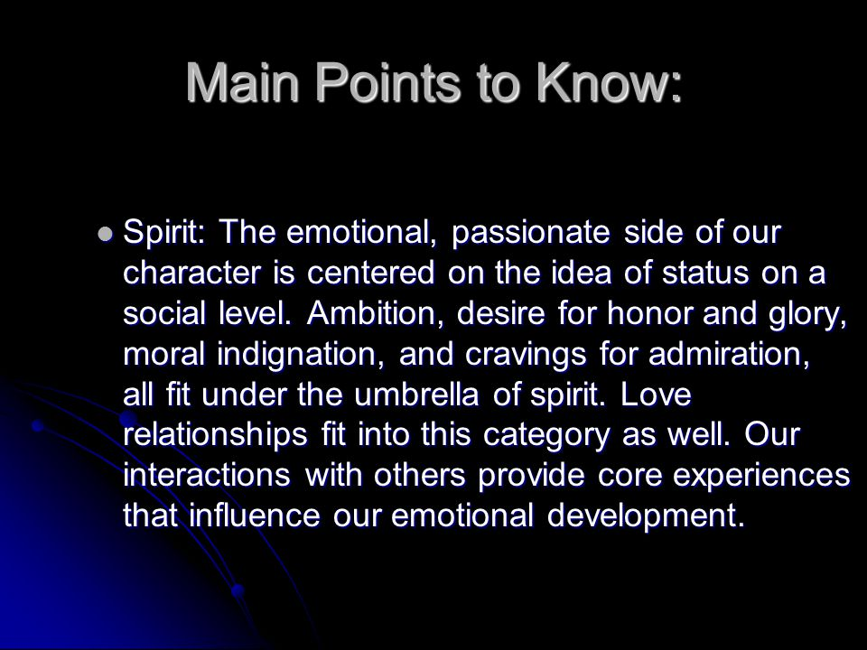 Main Points to Know: Reason: The intellectual, thinking part of the soul that must weigh options, decide between alternatives, and suppress dangerous urges.