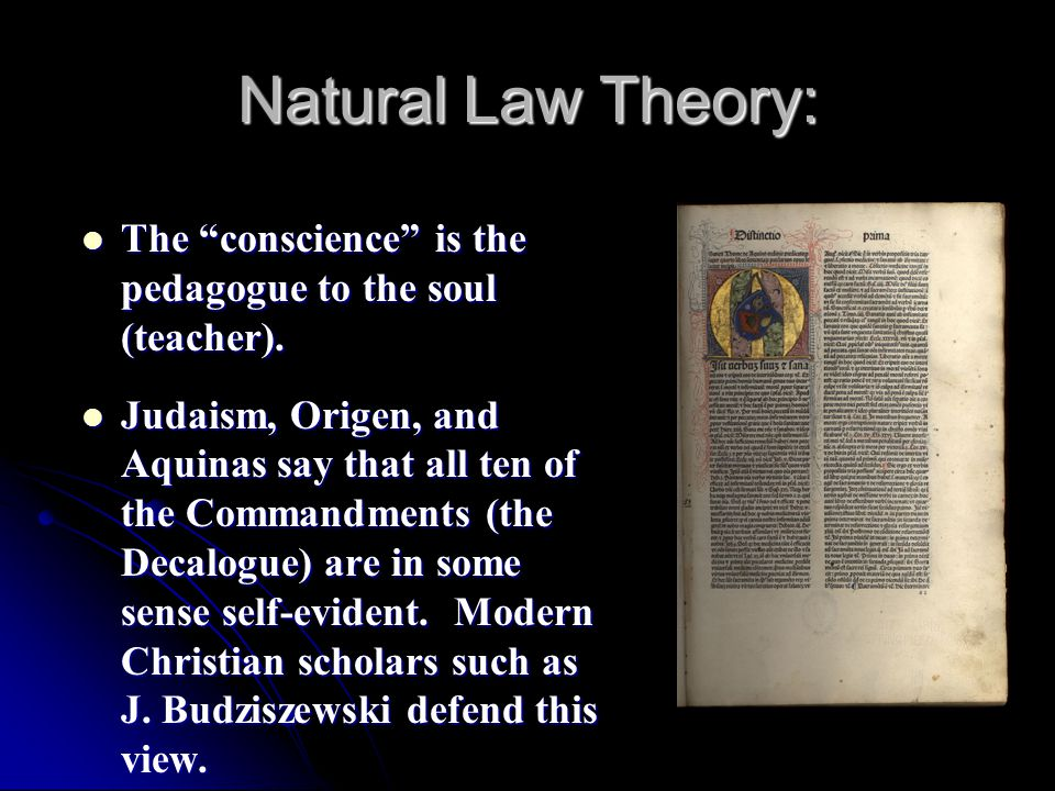 Natural Law Theory: The conscience is the pedagogue to the soul (teacher). The conscience is the pedagogue to the soul (teacher). Judaism, Origen, and