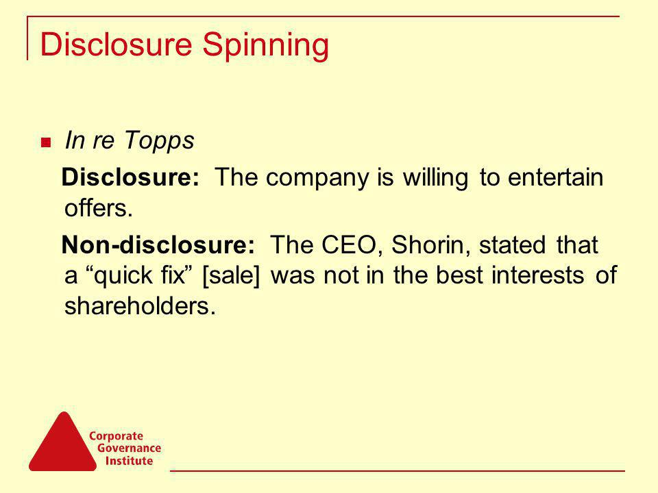 Disclosure Spinning In re Topps Disclosure: The company is willing to entertain offers.