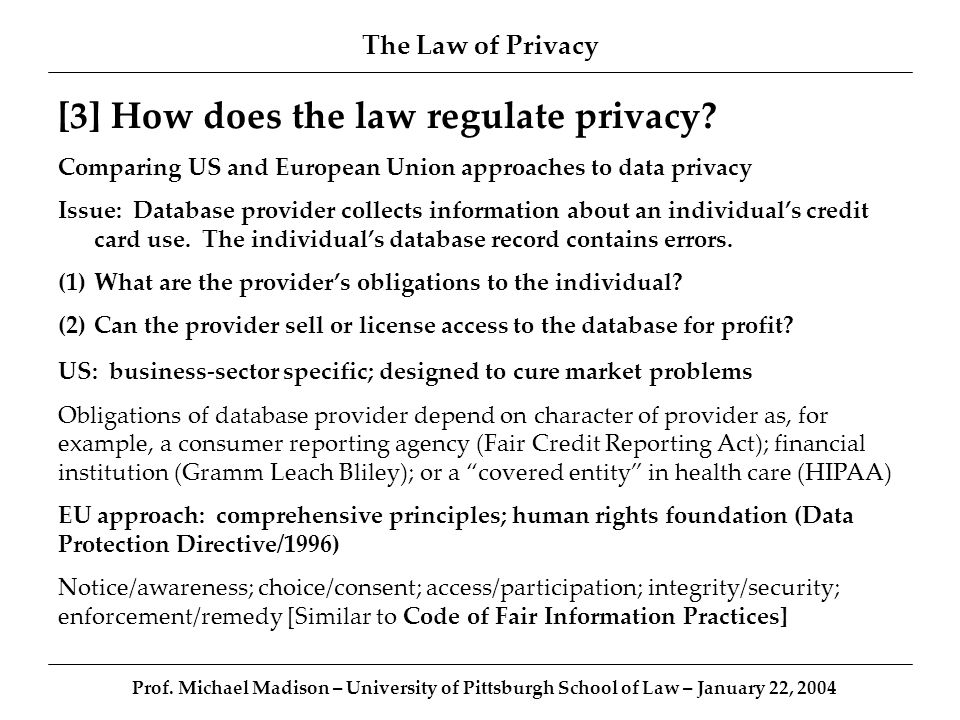 The Law of Privacy Prof.