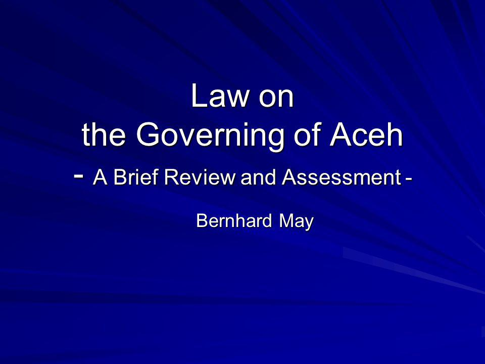 Background: Law 44/1999 Law 44/1999 on the Implementation of the Specialty of the Special Province of Aceh was enacted on 4 October 1999, with specialty meaning –to lead a religious life (the right to introduce Syariat Islam) –to implement traditional norms and culture (adat) –to implement education including elements of Syariat Islam –to give the religious (Islamic) leaders a role in policy making (creation of a board of religious leaders)